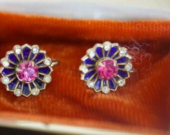 Vintage CORO Screw Back Earrings  Rhinestone Flowers