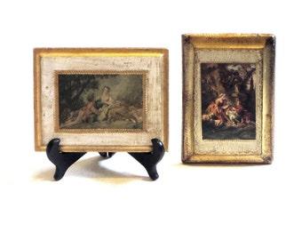 Florentine Gold Gilt Victorian Women  Tole Wood Set Art Plaques Florentia Italian Art Decor