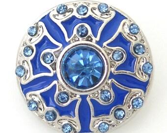 1 PC 18MM Blue Enamel Rhinestone Silver Snap Candy Charm kb8163 CC0886