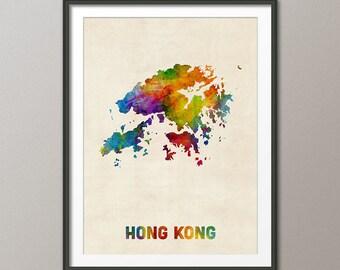 Hong Kong Watercolor Map, Art Print (2129)