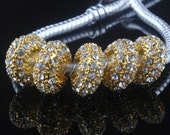 1 European Rhinestone Bead Gold Plated 12 mm Ships From The United States - ec170