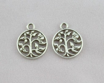 5 Tree Charms Tibetan Silver 18 x 15 mm Ships from The United States - ts737