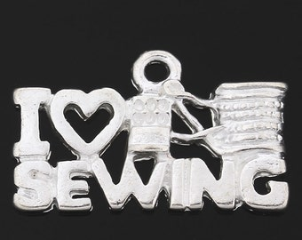 I Love Sewing Charm 6 Charms Silver Plated 20 x 12 mm U.S Seller - ts735
