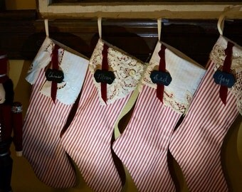 4 handmade Christmas stockings, red ticking Christmas stocking, vintage linen cuffs, personalized