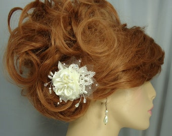Wedding Hair Flower, Satin Lace Hair Pin, Flower Bobby Pin, Wedding Accessories, REX15-196