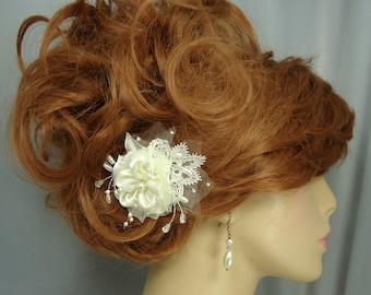 Wedding Hair Flower, Satin Lace Hair Pin, Flower Bobby Pin, Wedding Accessories, REX15-196