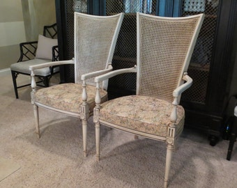 Set of two (2) French Louis XVI style Cane Arm Chairs