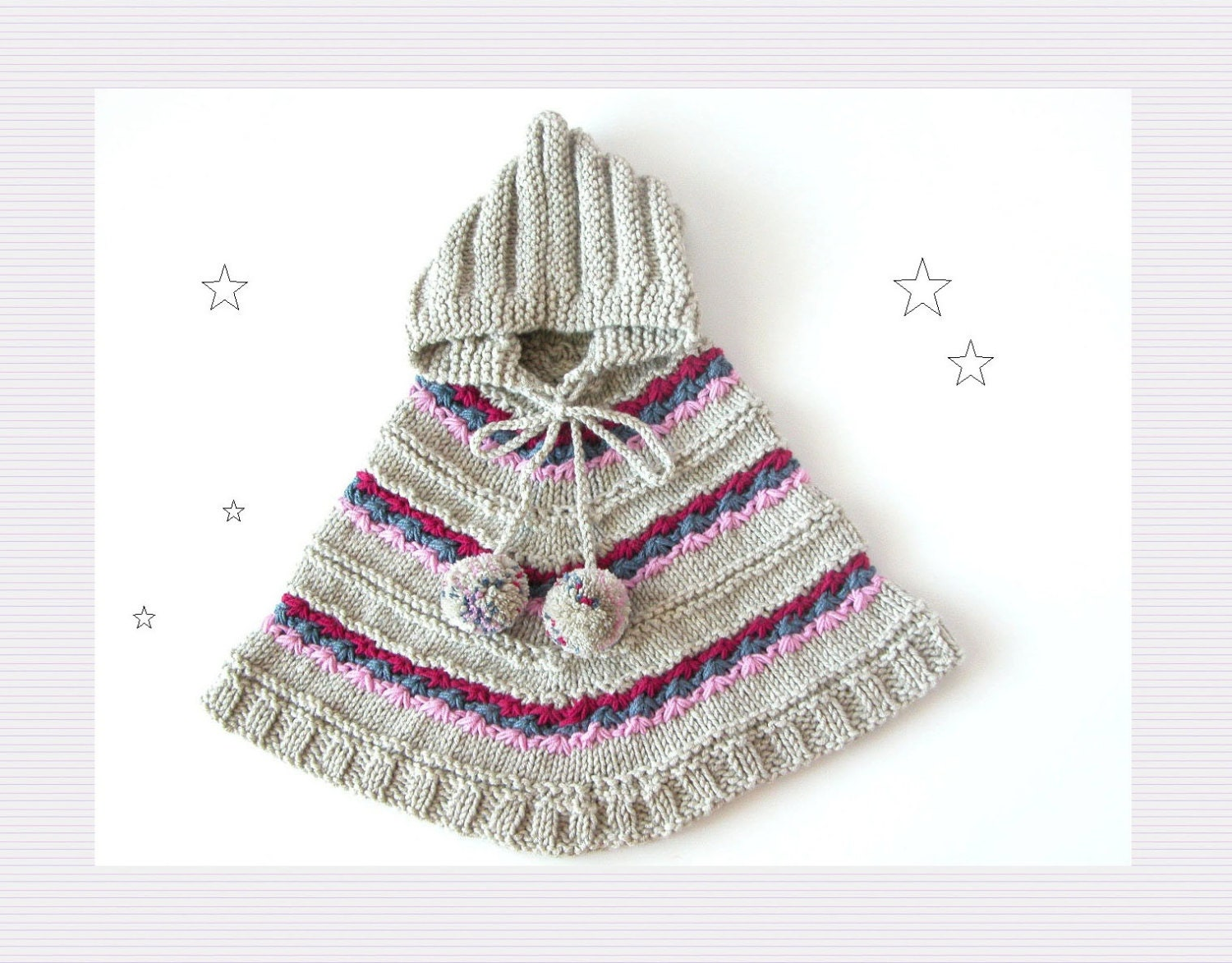 Hooded Toddler Poncho Knitting Pattern : Hand Knit Little Girl Poncho / Toddler Hooded Sweater by ...