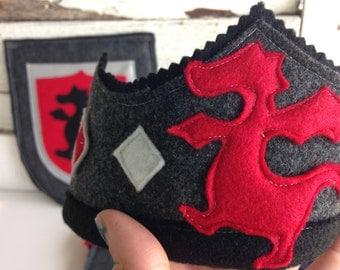 Dragon Knight Crown - Eco Felt or Wool Felt Crown - Party Crown