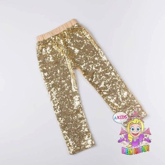 Girls gold pants sequin leggings gold by AKidsDreamBoutique