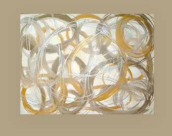 """Art and Collectibles, Original Acrylic Abstract Painting on Canvas by Ora Birenbaum Titled: Glitzy Gold 30x40x1.5"""""""