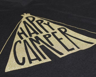 Happy camper// Screen-printed womens' cotton-poly deep V-neck tee