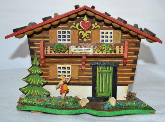 Vintage Musical Bank Alpine House Swiss Chalet Bavarian Money Savings Bank Made in Germany
