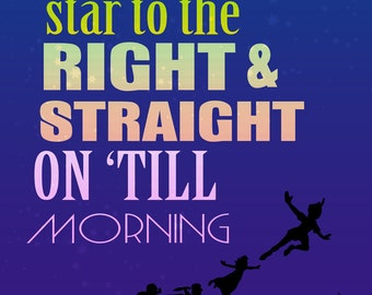 second star to the right and star on 'till morning peter pan instant download jpeg