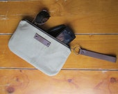 Clutch / Wristlet Vintage Military Inspired Waxed Khaki Canvas With Classic Plane Print Lining