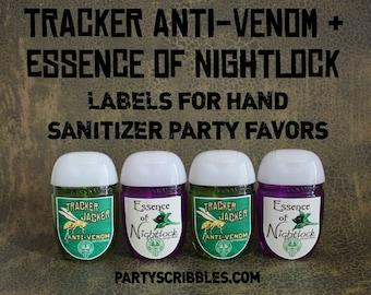 Tracker Jacker AntiVenom & Essence of Nightlock Labels DIY Favor Labels *Assembled Option Available*