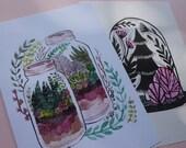 Terrarium Set of 2 A5 prints - 1 Linocut & 1 Digital