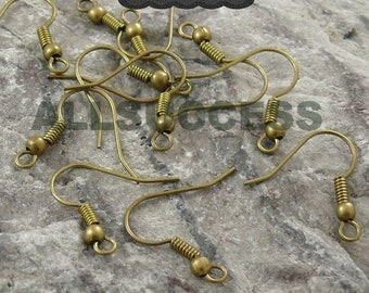 100pcs Antique Bronze brass fish hook with ball earwire 18x15mm,earring findings