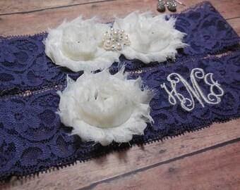 Monogrammed Garter, Monogram, Purple Garter, Lace Garter, Wedding Garter, Wedding Monogram, Garter,  Garter Set, Brides Garter, Initials