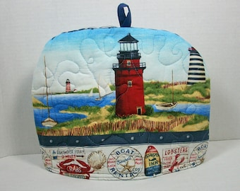 Lighthouses  - Quilted Dome Tea Cozy with Trivet