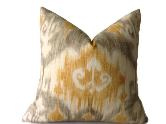 Etsy Yellow Throw Pillow : Items similar to Yellow Gray ikat Pillow, Decorative Throw Pillow Case, Cushion Cover, Yellow ...