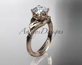 14kt  rose gold diamond flower, leaf and vine  wedding ring,engagement ring ADLR240