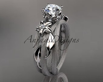 14kt  white gold diamond floral, leaf and vine  wedding ring, engagement ring ADLR253