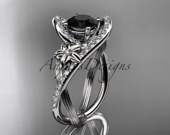 14k white gold leaf and flower diamond unique engagement ring, wedding ring with a Black Diamonde center stone ADLR369
