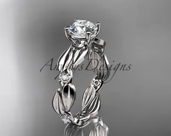 14kt white gold diamond leaf and vine wedding ring, engagement ring ADLR58