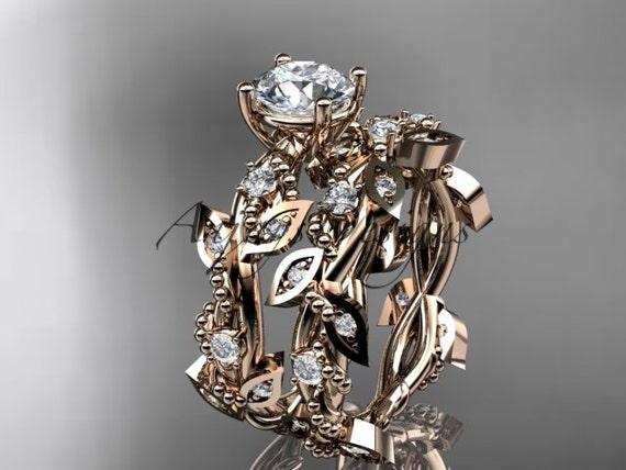 14k rose gold diamond leaf and vine wedding ring, engagement set ADLR59S