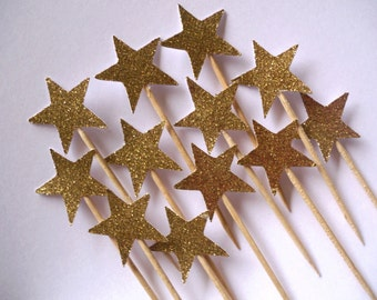 Gold Glitter Star Cupcake Toppers - Set of 12 - Available In Gold Glitter, Silver Glitter, Light Pink Glitter And More
