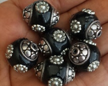 NEW - 8pcs - BLACK- Indonesia Beads - Zinc Alloy, Drum, antique silver color plated, with rhinestone, nickel, lead & cadmium free