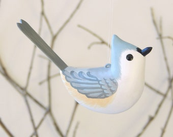 Bird Tufted Titmouse Handmade Sculpted Ornament