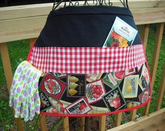 Red checkered and seed packet Denim Garden Apron.