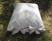 Lovely Black Stripes on White Linen Pillow Case with Ties.