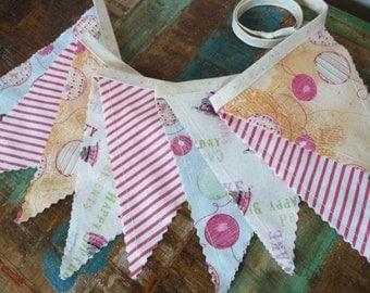 Birthday Bunting Banner, Birthday Photo Prop, Fabric Flag Banner, Birthday Garland, Fabric Bunting, Mantle Decor, Balloons, Stripes, Cake