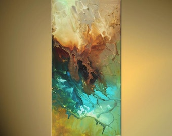 "Acrylic Modern Abstract Painting Contemporary Turquoise Teal Fine Art on Canvas Federations by Osnat - MADE-TO-ORDER - 48""x24"""