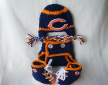 Crocheted Chicago Bears Hat, Diaper Cover & Booties Set These Are Made to Order