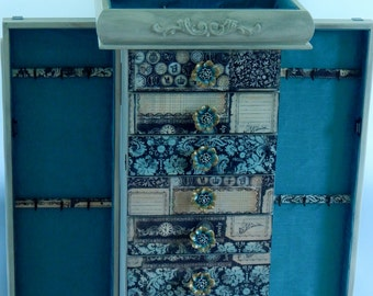 Turquoise and Black Jewelry Armoire Large