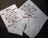 Mother & Father of the Bride - Spanish Version - Personalized Wedding Handkerchiefs - Free Gift Envelopes - Shown with Burgundy Writing