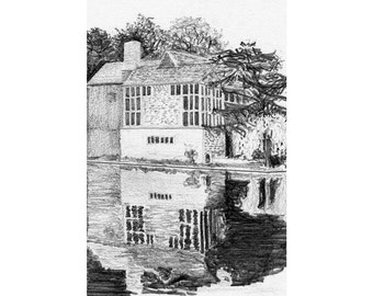 the music room from across the lake, Plumpton Place — limited edition archival print
