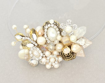 Gold Bridal Comb- Gold Bridal Hairpiece-Bridal Hair Accessories-Vintage Inspired Bridal Comb-Bridal Hairpiece-Ivory Bridal Comb-Brass Boheme