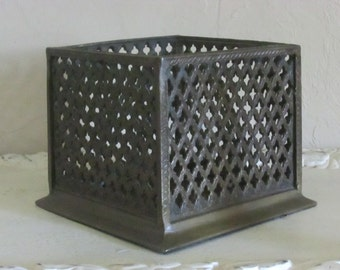 Vintage Brass Box Brass Planter Bronze Reticulated Box Reticulated Brass Box Brass Vase