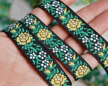 Vintage French woven trim, jacquard trim, French passementerie, vintage ribbon, braid, woven tape, green and yellow floral trim, 3 yards NOS