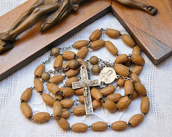 Vintage French large rosary, olive stones, religious souvenir, Jerusalem souvenir, silver crucifix, olive pip beads, wooden beads, chapelet