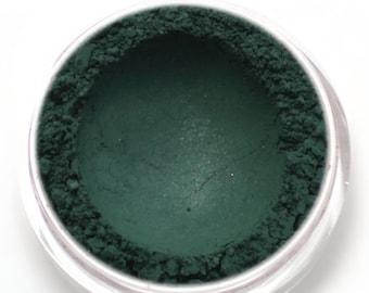 "Dark Green Eyeshadow - ""Puck"" - satiny hunter green Vegan Mineral Eyeshadow Net Wt 2g Mineral Makeup Eye Color Pigment"