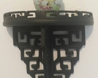 Antique Chinese carved wood sconce shelf