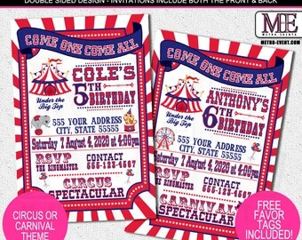 Carnival Ticket and Circus Ticket Party Invitations