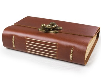 Vintage Leather Journal Diary Notebook with Cool Lock A6 Blank Lind Craft Paper Handmade Red Brown Small with Gift Box