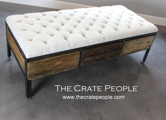 Reclaimed Wood Ottoman ~ Reclaimed tufted ottoman or crate drawer coffee table